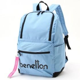 バッグ カバン 鞄 レディース リュック ロゴデザイン スクエアリュックサック カラー 「サックス」