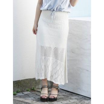[dazzlin]カギバリクロシェレースマキシスカート