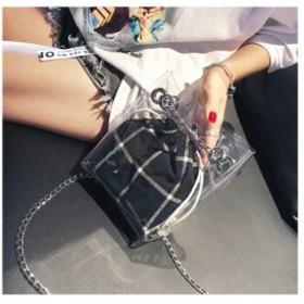 PVC透明ゼリーバッグ チェーンバッグ クリア ショルダーバッグ 通学通勤 旅行デート ファッション シンプル インナーバッグ カバンKY-207