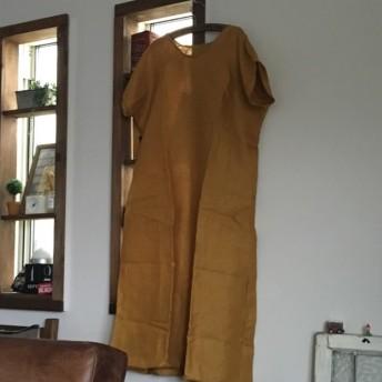 ロングワンピース 着丈約120 ハンドメイド 黄色リネン セール