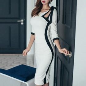 コントラストカラー 黒白 ハイウエスト パーティードレス スカート 五分袖 セミロング タイトドレス ワンピース お呼ばれ イベント パー