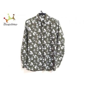 アニエスベー agnes b 長袖シャツ サイズ2 M メンズ カーキ×白×パープル 花柄 新着 20190704