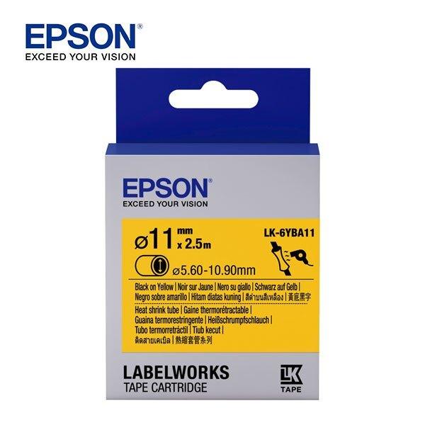 EPSON 愛普生 LK-6YBA11 C53S656415標籤帶(熱縮套系列11mm) 黃底黑字