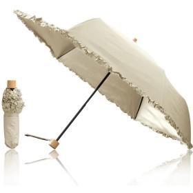 Ombrage 完全遮光 100% 日傘 ショートパラソル 親骨50cm 【フリル】 UVカット UPF50+ 紫外線対策 遮熱加工 梅雨 ゲリラ豪雨 夕立 高強度 水をはじく テフロン加工 超撥水