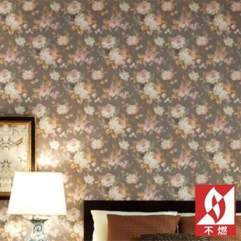 壁紙 のりなし クロス 国産壁紙 フラワー・リーフ 花柄 クラシック アンティーク 不燃 防かびサンゲツ RE-8033