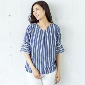 シャツ ブラウス レディース 綿混ブロードブラウス【M〜4L】 「ブルー」