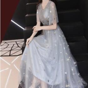 パーティードレス 結婚式 お呼ばれドレス 二次會 ワンピース フォーマル  ラウンドネック 袖あり Vネック フレアワンピース