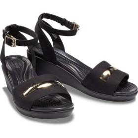 【クロックス公式】 レイ アン メタル ブロック アンクル ウェッジ ウィメン Women's Crocs LeighAnn MetalBlock Ankle-Strap Wedge ウィメンズ、レディース、女性用 ブラック/黒 21cm,22cm,23cm,24cm,25cm wedge 30%OFF