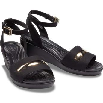 【クロックス公式】 レイ アン メタル ブロック アンクル ウェッジ ウィメン Women's Crocs LeighAnn MetalBlock Ankle-Strap Wedge ウィメンズ、レディース、女性用 ブラック/黒 21cm,22cm,23cm,24cm,25cm wedge