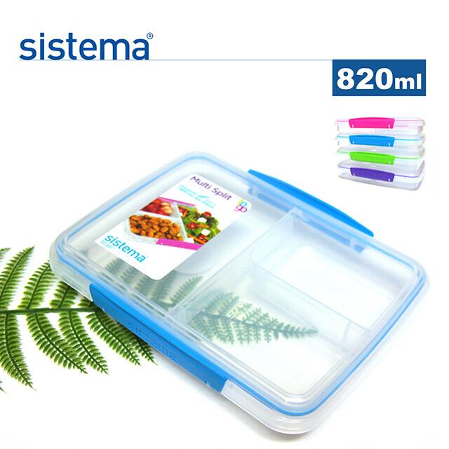 sistema紐西蘭進口攜便式分隔沙拉盒820ml(顏色隨機)6入組-21560