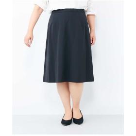 eur3 【大きいサイズ】万能!仕事着にも使える膝丈スカート その他 スカート,ブラック