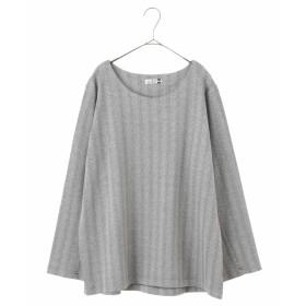 eur3 【大きいサイズ】ヘリンボン柄プルオーバー Tシャツ・カットソー,ダークグレー