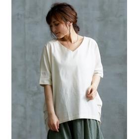 麻混素材Vネック袖ボリューム5分袖シャツ (ブラウス),Blouses, Shirts