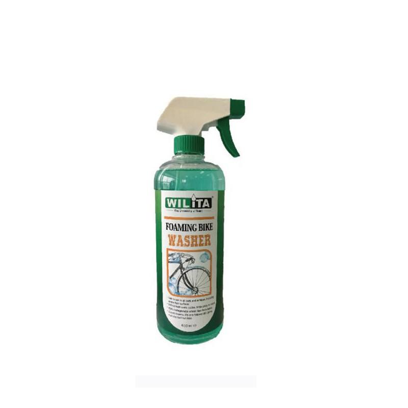 品名:WILITA威力特 01904泡沫式自行車車架清潔劑 品號:0310-3538 顏色:瓶身綠白色 容量:650ml 尺寸:瓶身高24.5公分 / 直徑7.5公分 材質:水 + 介面活性劑 WIL