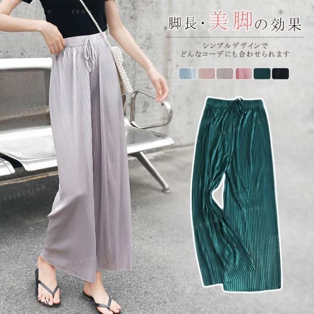 ワイドパンツ レディース シフォン 大人気 韓国ファッション プリーツパンツ ロング 無地 カジュアル ウエストゴムタイプ