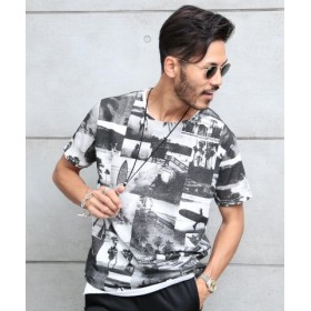 (JIGGYS SHOP/ジギーズショップ)総柄T×タンク ネックレス付きアンサンブル/Tシャツ タンクトップ アンサンブル メンズ ティーシャツ 半袖 ネックレス クルーネック/メンズ ブラック