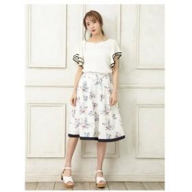allamanda(アラマンダ)裾配色大花柄ミディースカート