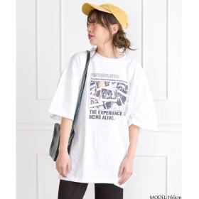SpRay ポラフォトプリントワイドT M レディース 5,000円(税抜)以上購入で送料無料 カットソー Tシャツ 夏 レディースファッション アパレル 通販 大きいサイズ コーデ 安い おしゃれ お洒落 20代 30代 40代 50代 女性 トップス