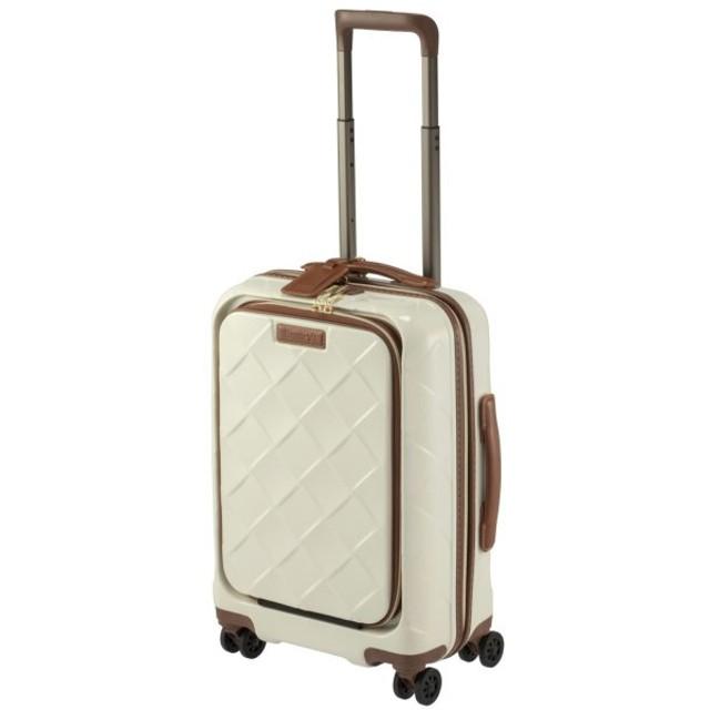 バッグ カバン 鞄 レディース キャリーバッグ ドリンクホルダー搭載・フロントオープンキャリーケース カラー 「ミルク」