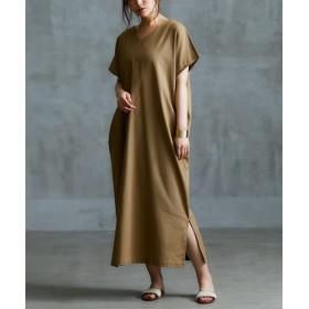 麻混素材前後Vネック半袖ワンピース (ワンピース),dress