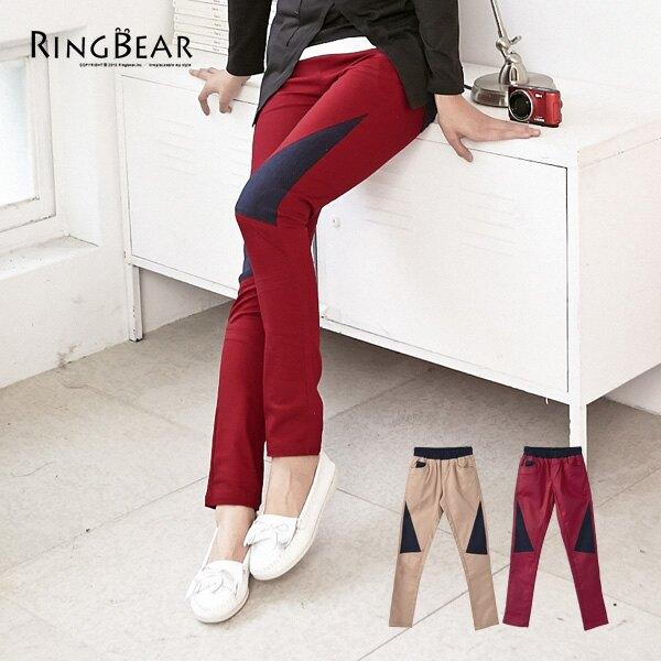 長褲--獨特設計鬆緊褲頭牛仔色拼接內搭式長褲(紅.咖S-6L)-P76眼圈熊中大尺碼