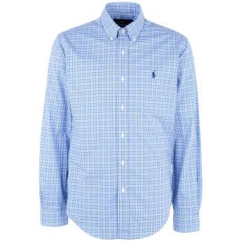 《期間限定 セール開催中》POLO RALPH LAUREN メンズ シャツ アジュールブルー S コットン 100% Slim Fit Gingham Cotton Shirt