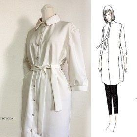 【1点もの・デザイン画付き】タイ付きゆったりシャツ型オフホワイトワンピース(KOJI TOYODA)