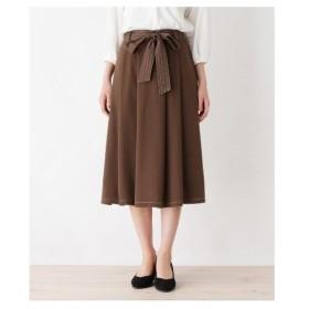 HusHusH(Ladies)(ハッシュアッシュ(レディース))配色カラーステッチフレアスカート