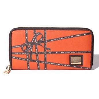 (Hallmark DESIGN COLLECTION/ホールマークデザインコレクション)リボンテープ柄カードポケットたくさんラウンドファスナー財布/レディース オレンジ