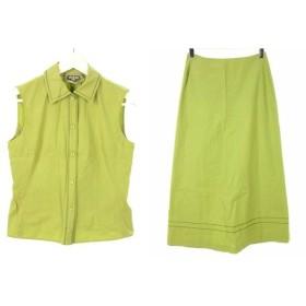 【中古】マーレンダム MARLENEDAM セットアップ シャツ ノースリーブ 40 スカート マキシ丈 ロング スリット 刺繍 黄緑 イエローグリーン レディース