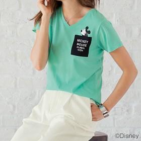 69%OFF【レディース】 Vネックポケット付きTシャツ(ディズニー) - セシール ■カラー:ソフトエメラルド ■サイズ:M
