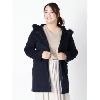【大きいサイズレディース】冬物【L-LL】ゆったりサイズ!フォックスファー付ウール混フード使いコート アウター ウールコート