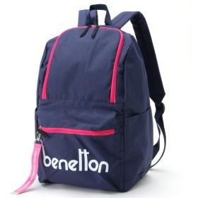 バッグ カバン 鞄 レディース リュック ロゴデザイン スクエアリュックサック カラー 「ネイビー」