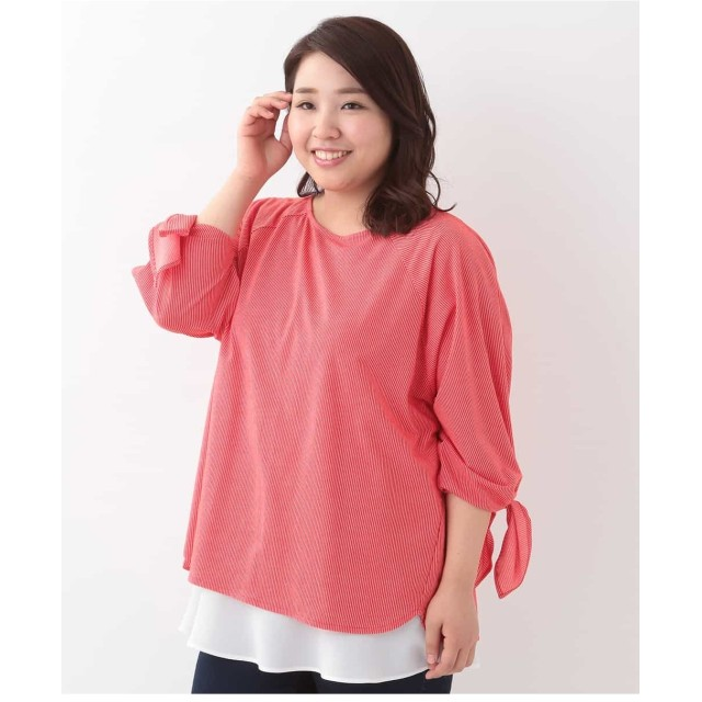 eur3 【大きいサイズ】ストライプ袖リボンプルオーバー Tシャツ・カットソー,レッド