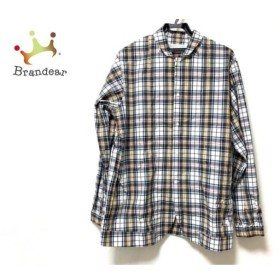 フィンガリン PHINGERIN 長袖シャツ サイズM メンズ 白×ダークグリーン×マルチ チェック柄  値下げ 20190819