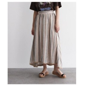OZOC(オゾック)リネンブレンドストライプフリンジボリュームスカート