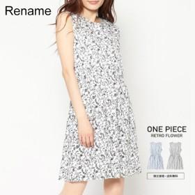 綿100%フラワーワンピ Rename レトロフラワープリント ワンピース レディース【送料無料・SALE価格】