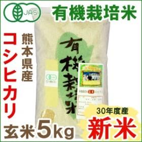 30年度産 有機米・熊本コシヒカリ 玄米(5kg)【ムソー】