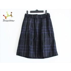バーバリーロンドン スカート サイズ36 M レディース 美品 黒×ネイビー×グレー チェック柄  値下げ 20190903