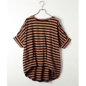 【抗菌防臭。汗染み防止加工】綿100%ボーダー半袖ドルマンTシャツ (Tシャツ・カットソー)(レディース)T-shirts