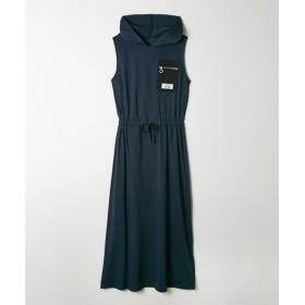 ナイロン胸ポケット付ノースリーブフード付マキシワンピース (ワンピース),dress