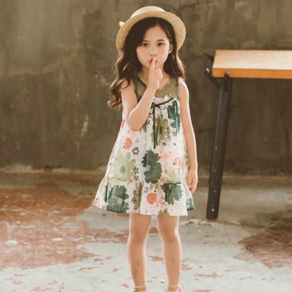 女童碎花無袖洋裝 短袖洋裝 中大童洋裝 女童洋裝 女童連衣裙 女童連身裙【蘋果小舖】(AA) (AG) 1903 A7