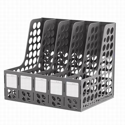 【五聯檔框-9837-34*25.5*29.5cm-2套/組】塑膠資料夾收納框資料筐桌面檔欄檔架-586003