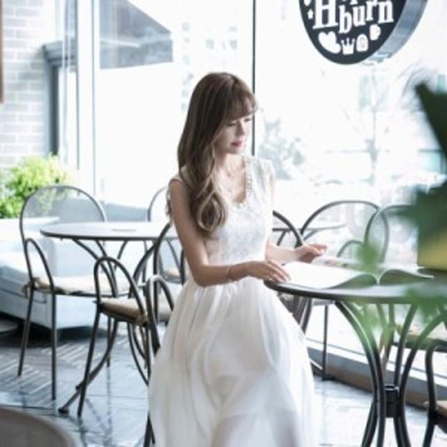 ワンピース 半袖 ミモレ丈 膝丈 花柄 上品フレア ドレス シフォン レース Vネック 結婚式 パーティー