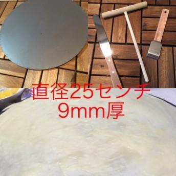 直径25センチ9mm厚、クレープトンボミニ、スパチュラ、鉄板掃除用ヘラフルセット