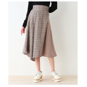 OZOC(オゾック)【洗える】イレヘムチェック切替フレアスカート