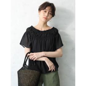 シャツ - koe 衿シャーリングブラウス