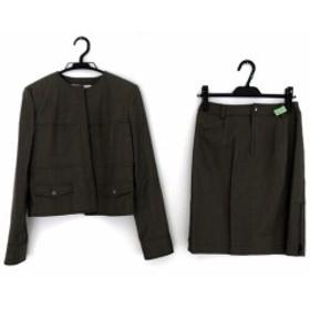 ハロッズ HARRODS スカートスーツ サイズ2 M レディース カーキ ノーカラー【中古】20190702