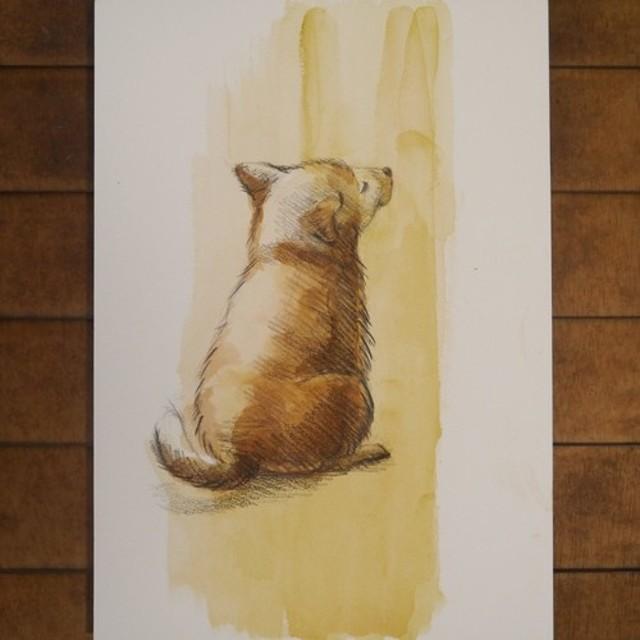 待ちぼうけの子犬-3(アクリル画)