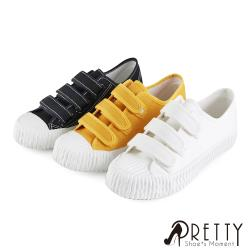 Pretty 素面帆布沾黏式平底休閒鞋/餅乾鞋BA-28523